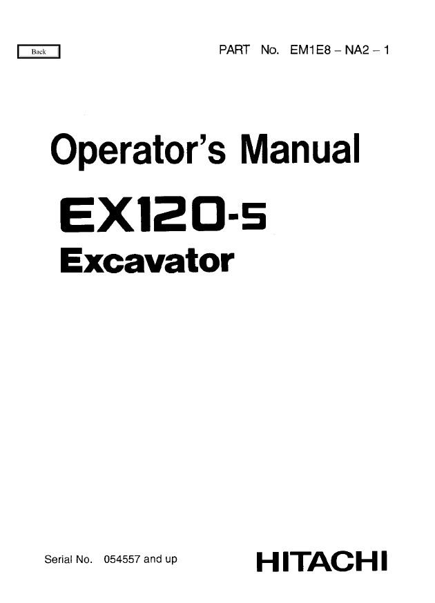 Hitachi Ex120 5 Excavator Workshop Operator S Manuals Pdf border=