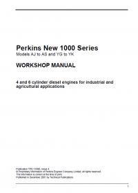 repair manual Perkins New 1000 Series And 1104 Series Workshop Manuals PDF