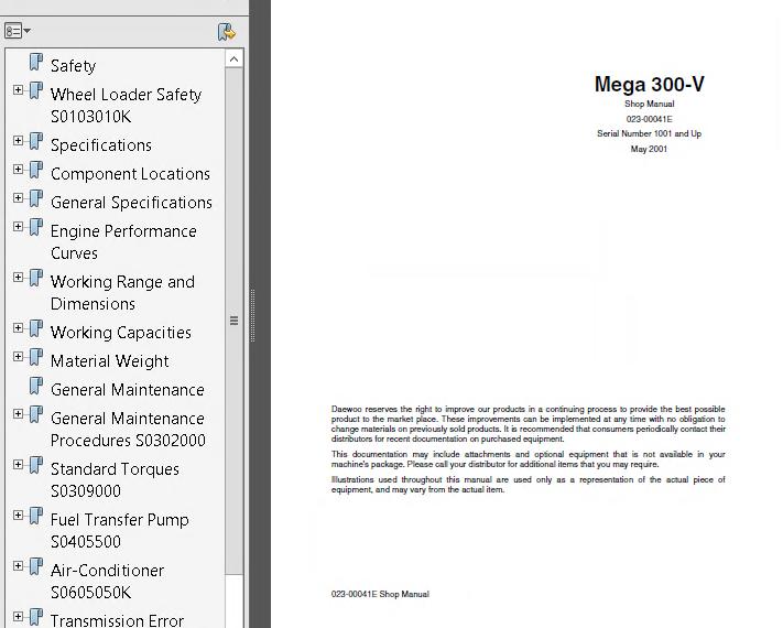Doosan Mega 300-V & Solar 340LC-V Track Excavator Shop Manual PDF