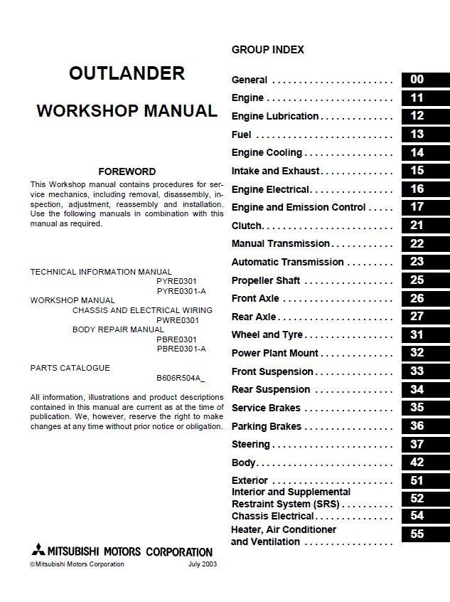 mitsubishi outlander 2003 2006 workshop manual pdf rh epcatalogs com Mitsubishi Outlander 2003 Parts Diagram Install Valve Cover 2003 Outlander
