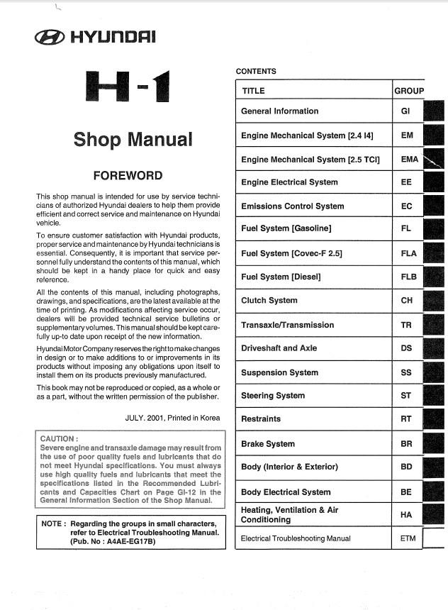 hyundai h1 shop manual pdf rh epcatalogs com hyundai h1 manual pdf hyundai h1 manual free download