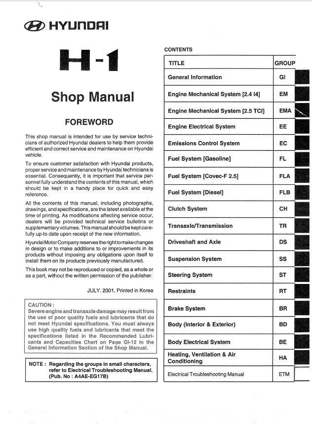hyundai h1 service manual free owners manual u2022 rh wordworksbysea com manual de taller hyundai h1 manual de taller hyundai h1 gratis