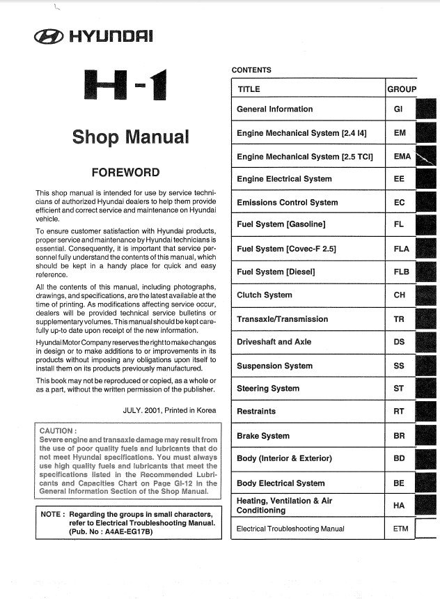Hyundai H1 Shop Manual Pdf