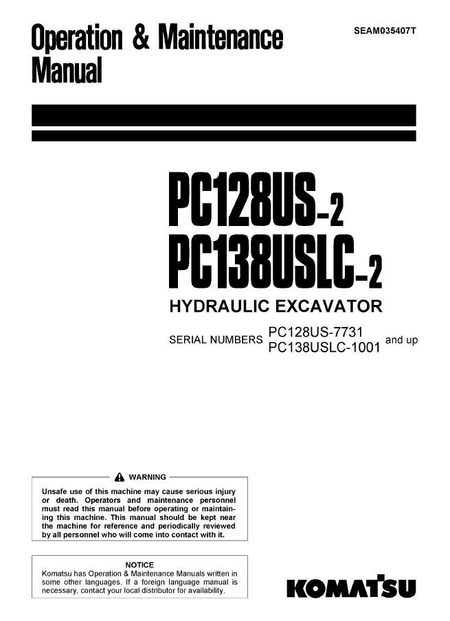 komatsu excavator pc128us