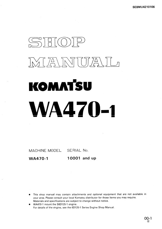 Komatsu WA470-1 Wheel Loader Shop Manual PDF
