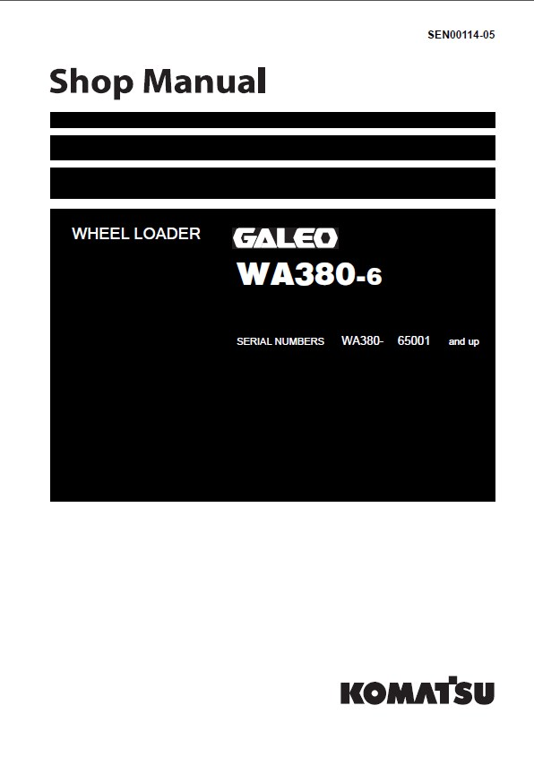 Komatsu Wa380 6 Galeo Wheel Loader Shop Manual Pdf
