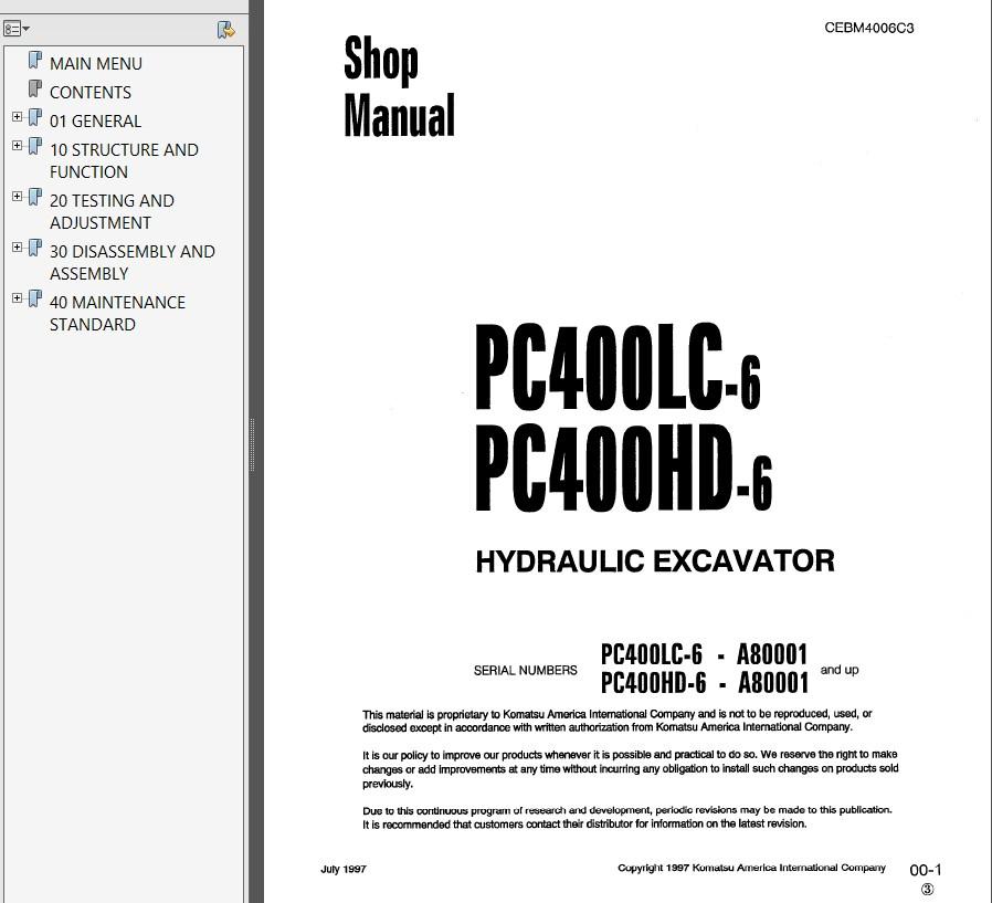 komatsu pc400lc 400hd 6 pc400 400lc 6 pc450 450lc 6 hydraulic excavator shop manual pdf