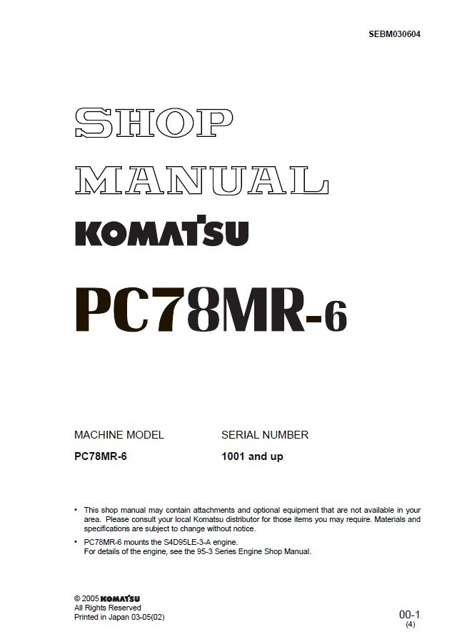 Details about  /KOMATSU PC78US-6 EXCAVATOR OPERATION /& MAINTENANCE BOOK MANUAL S//N 7615-UP