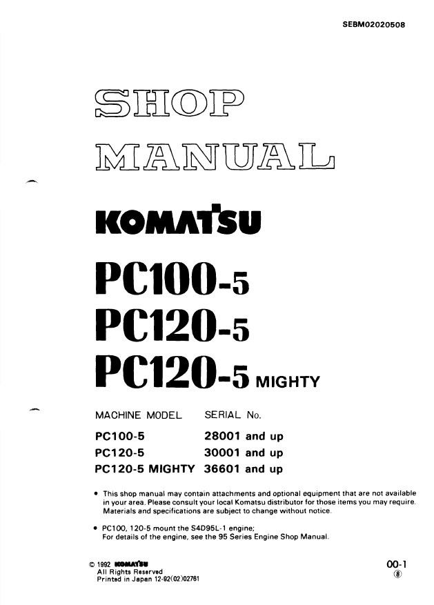 Komatsu Hydraulic Excavator PC100 5 PC120 5 Service Manual komatsu excavator wiring schematic wiring diagrams  at webbmarketing.co