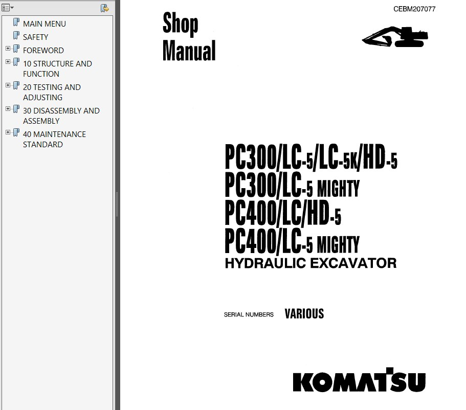 komatsu pc300  400 5 hydraulic excavator shop manual pdf