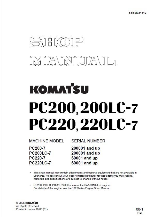 Komatsu Excavator Pc200  Lc Lc