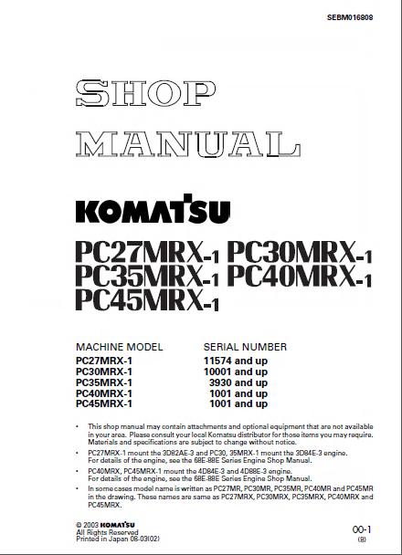 Komatsu Pc27  30  35  40  45mrx