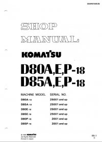 repair manual Komatsu Bulldozers D80A,E,P-18 & D85A,E,P-18 Shop Manual PDF