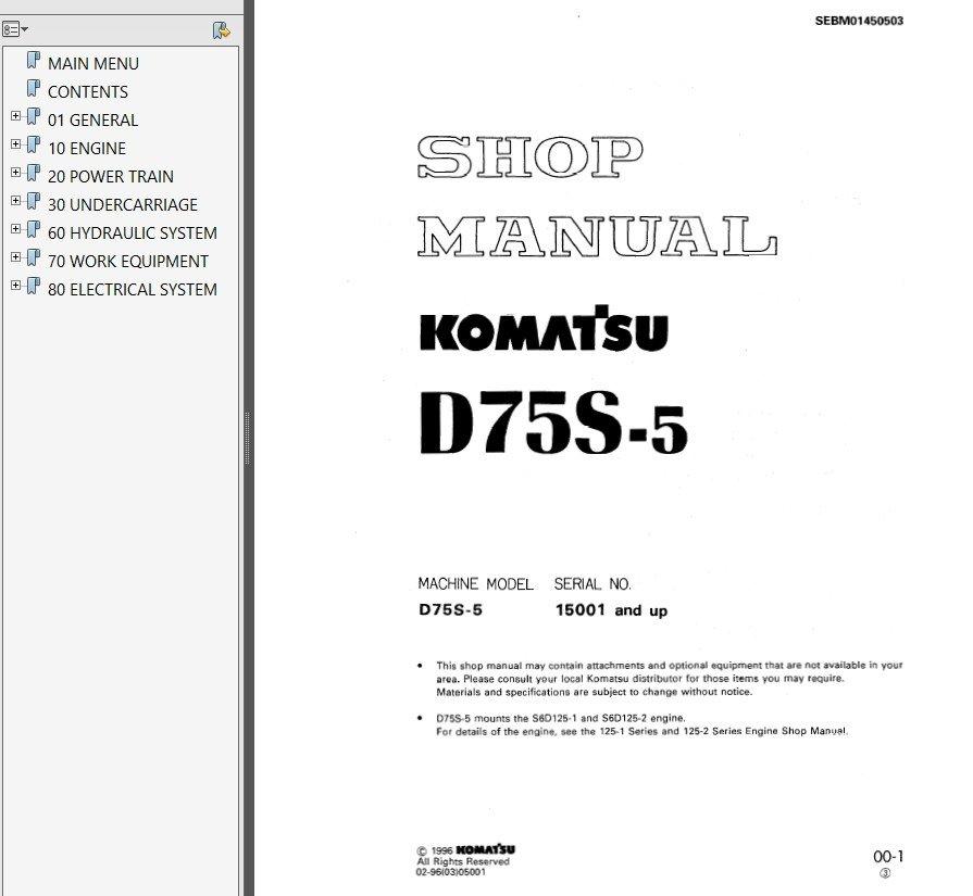 Komatsu d75s руководство