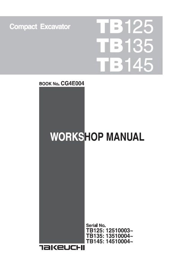 Takeuchi TB125 TB135 TB145 takeuchi tb125 tb135 tb145 compact excavator workshop manual pdf takeuchi tb145 wiring diagram at bakdesigns.co