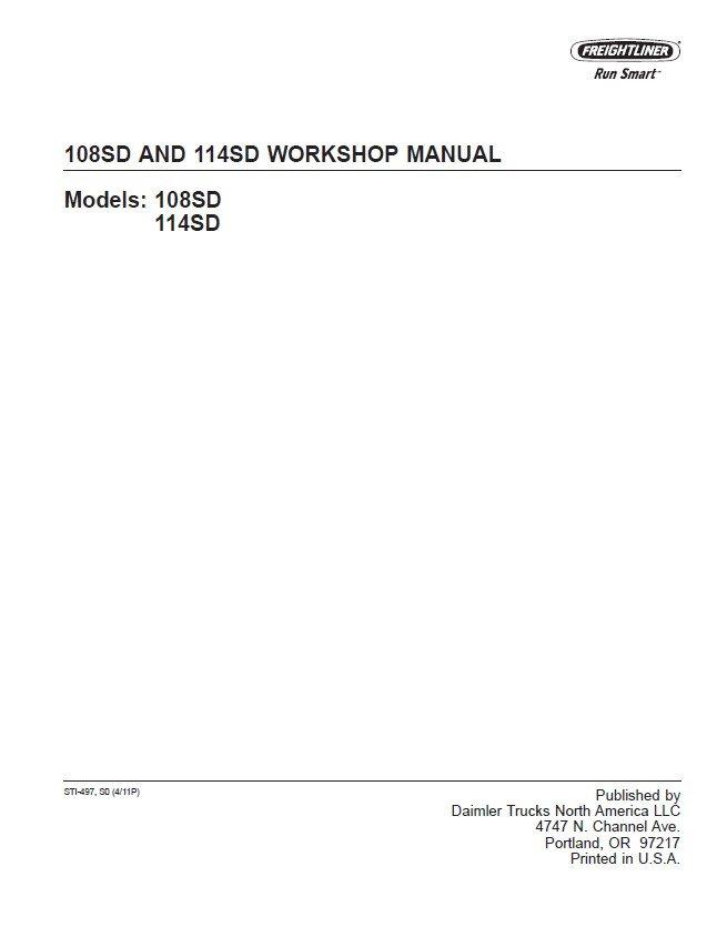 Freightliner 108sd  U0026 114sd Workshop Manual Pdf