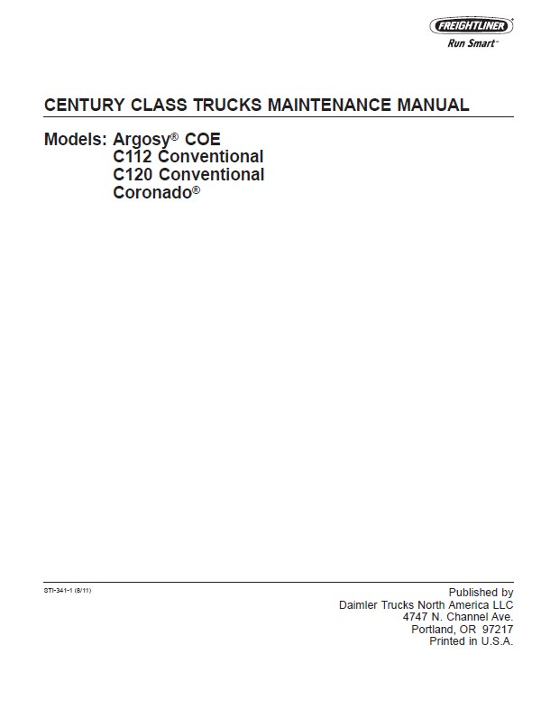 Freightliner Century Class Trucks Maintenance Manual Pdf