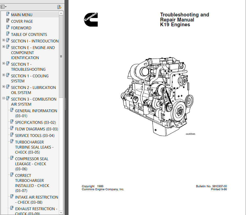 cummins k19 series diesel engine pdf repair manual rh epcatalogs com diesel engine service manual diesel service manual pdf