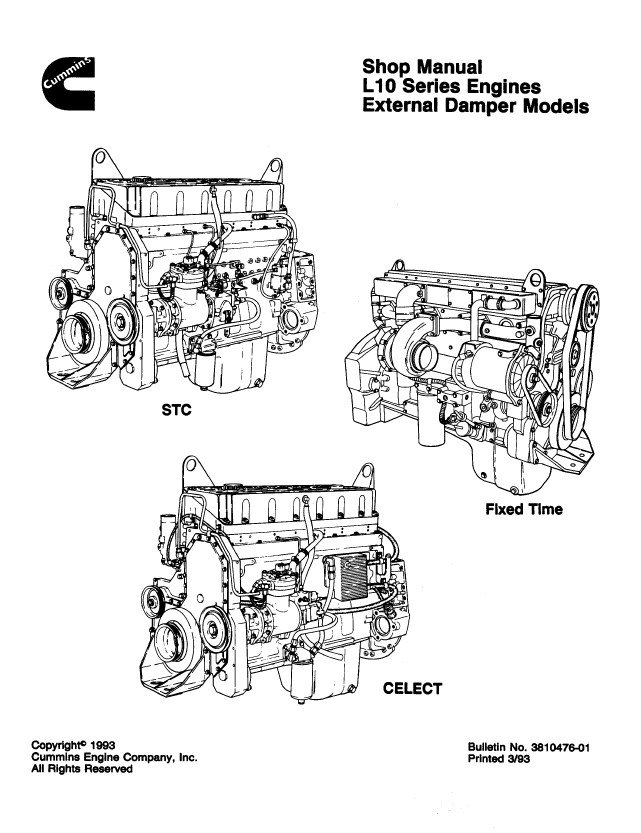 cummins l10 series diesel engines external der models shop specification manuals pdf