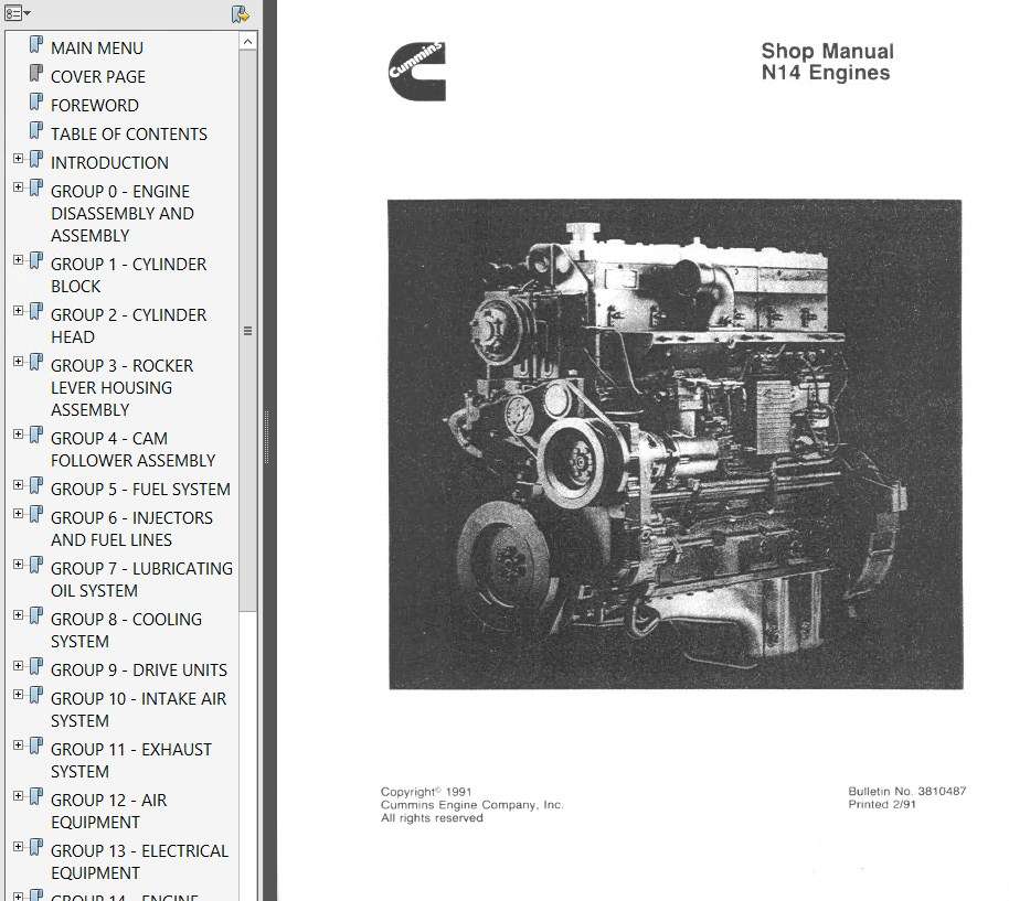 B43m Onan Engine Parts Diagram: Cummins N14 Engines Shop & Troubleshooting & Repair Manual PDF