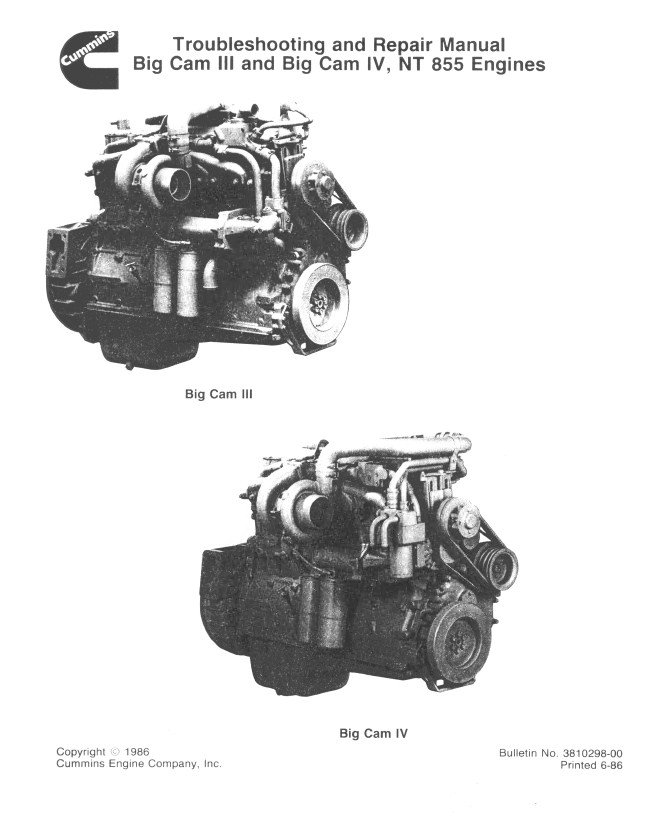 Cummins Big Cam III and Big Cam IV, NT855 Diesel Engine Troubleshooting and  Repair Manual PDF