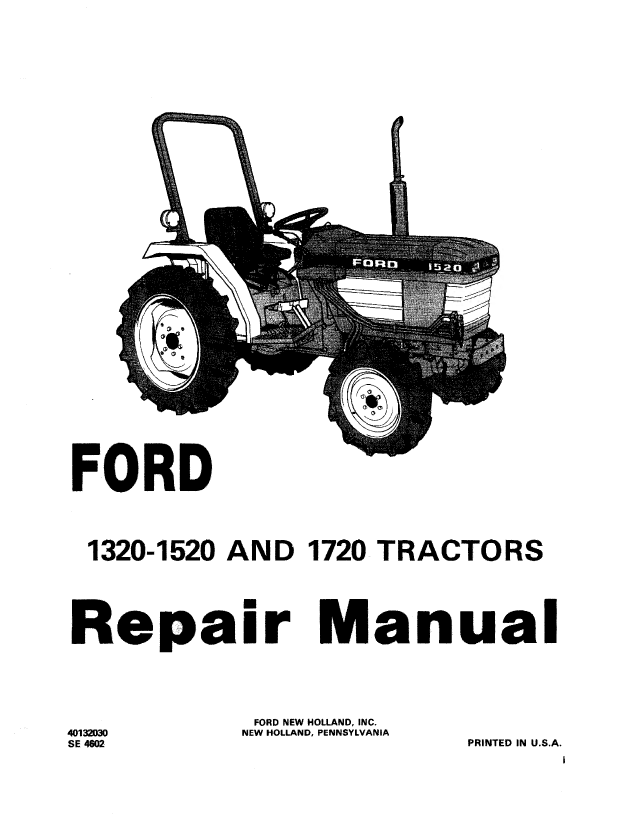 Holland Ford 1320  1520  1720 Tractor Repair Manual Pdf Download