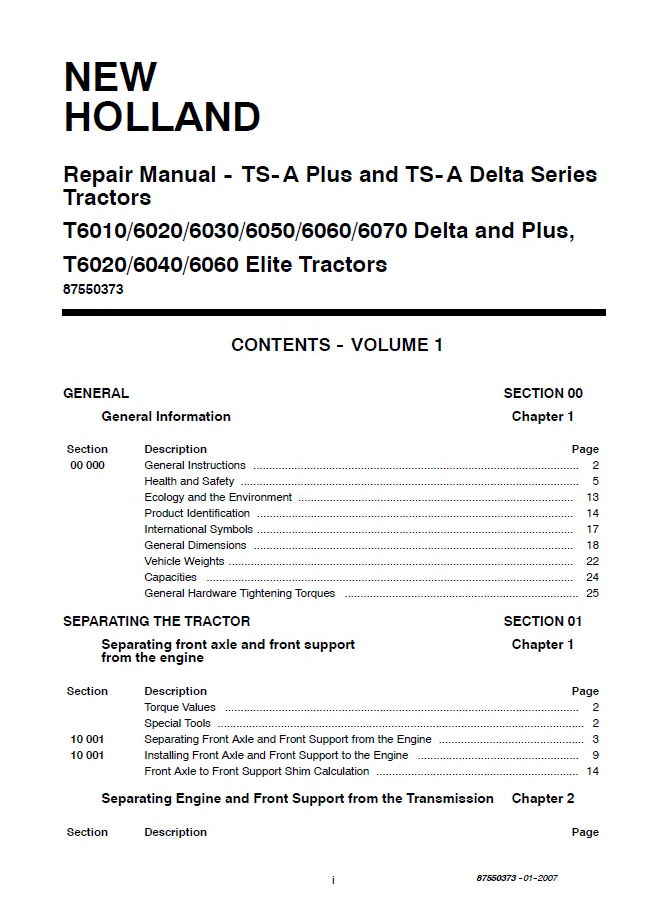 New Holland TSA TS135A TS125A TS110A Repair Manual