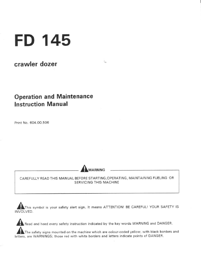 fiatallis fd crawler dozer operation maintenance instruction repair manual fiatallis fd145 crawler dozer operation maintenance instruction manual pdf