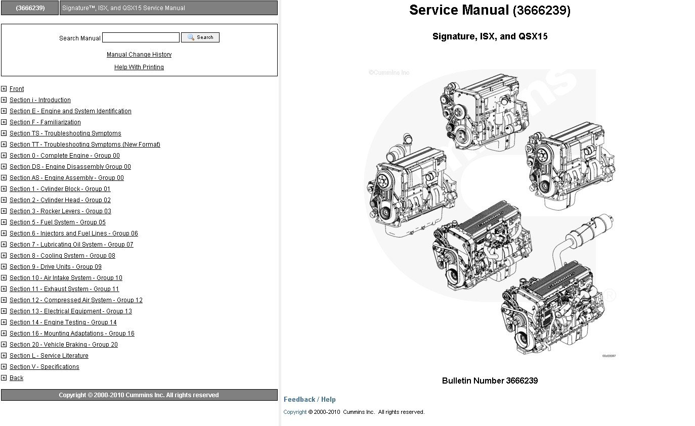 Cummins Engine Signature Isx Qsx15 Service Manual Download