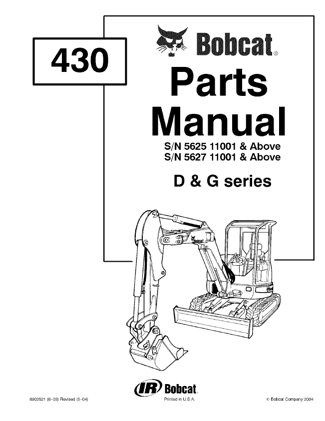 Bobcat 430 D & G Series Excavator Parts Manual PDF