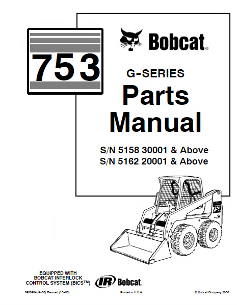 Bobcat 753 G Series Skid Steer Loader Parts Manual Pdf