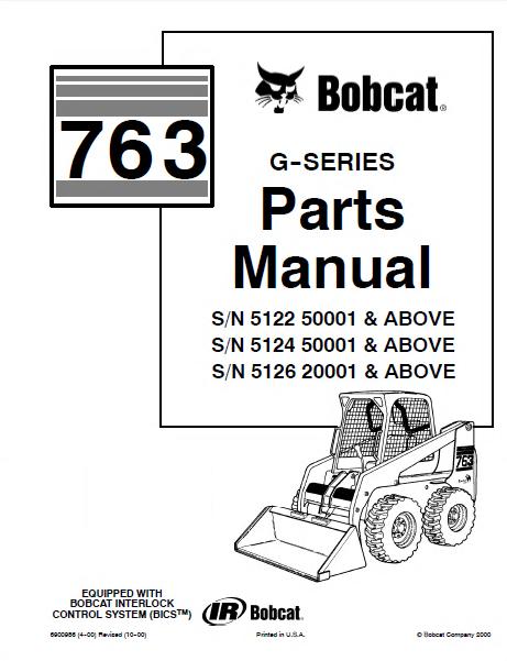 Bobcat 763 G Series Skid Steer Loader Parts Manual PDF