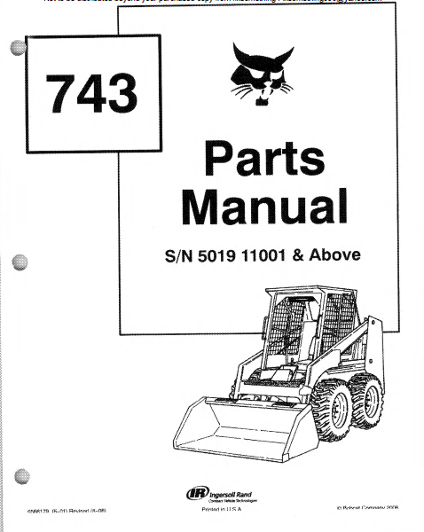 Bobcat Skid Steer Complete Parts Manual Spare Parts Catalog