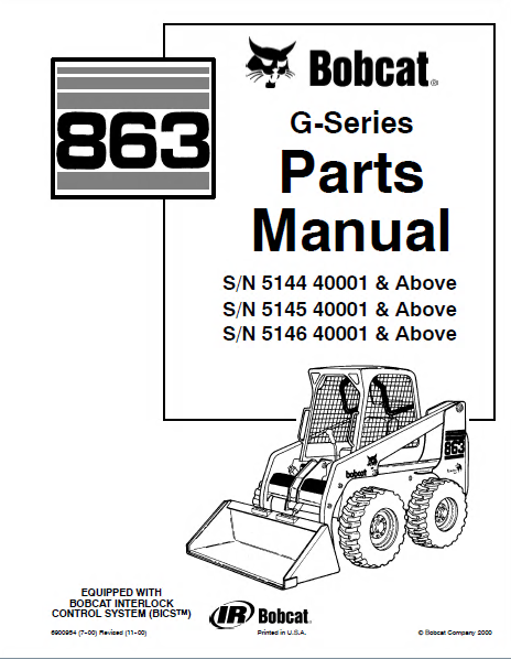 Bobcat 863 G Series Skid Steer Loader Parts Manual PDF