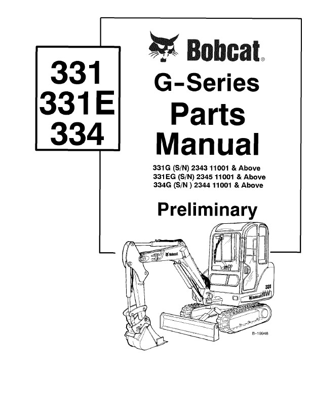 Bobcat 331, 331E, 334 G-Series Excavator Parts Manual PDF