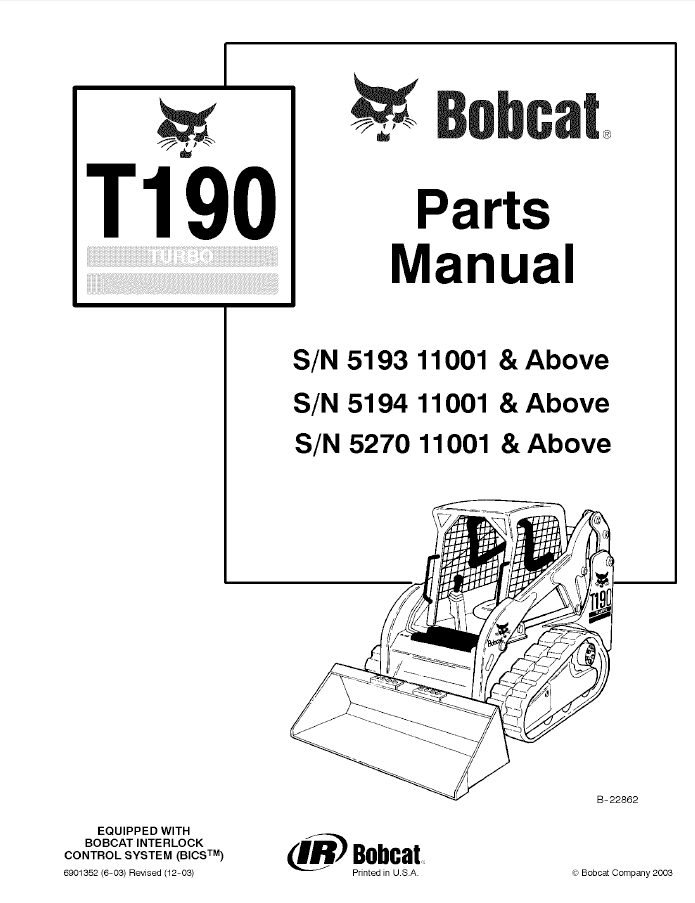bobcat t190 wiring diagram bobcat image wiring diagram bobcat t190 turbo tracked skid steer loader parts manual pdf on bobcat t190 wiring diagram