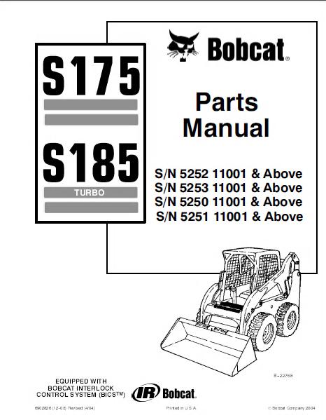bobcat s175 & s185 turbo skid steer loader parts manual pdf bobcat s175 parts catalog pdf bobcat s175 parts diagram #1