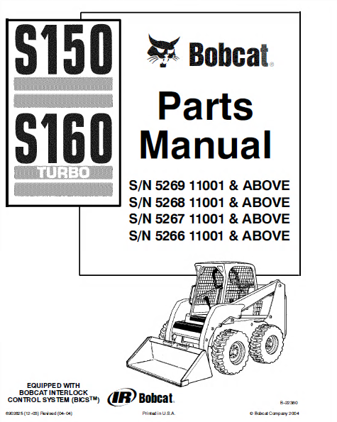 bobcat s150 s160 skid steer loader parts manual pdf