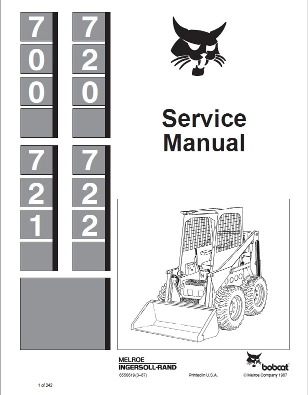 Bobcat 700, 720, 721, 722 Skid Steer Loaders Service Manual PDF