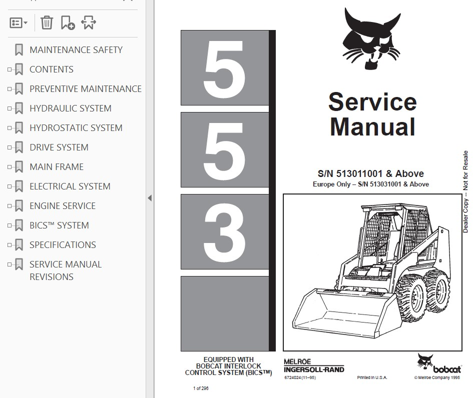 ORIG BOBCAT 553 BICS SKID STEER LOADER TRACTOR OPERATORS MAINTENANCE MANUAL NICE