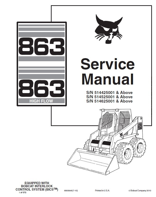 Bobcat Service 863 863H Skid Steer Service Manual repair software bobcat 863 wiring diagram wiring data schematic \u2022