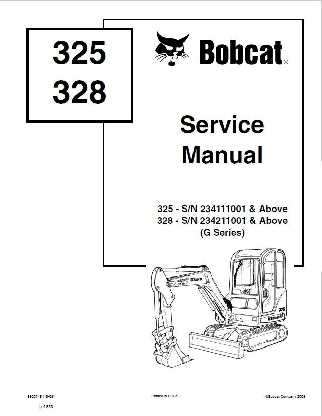 Bobcat 325  328 Excavator G Series Service Manual PDF
