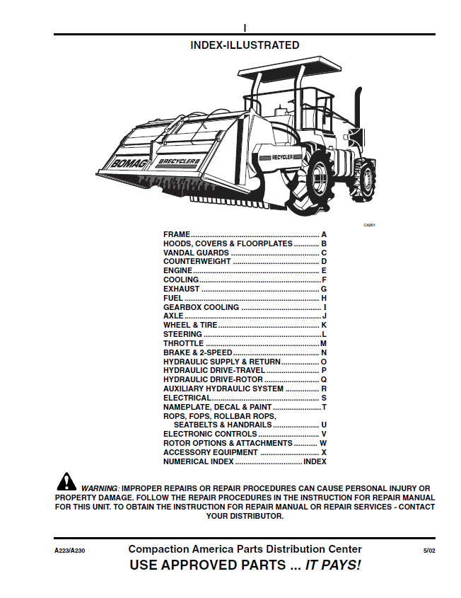 bomag mph362-364-454 recycler stabilizer parts repair pdf  epcatalogs