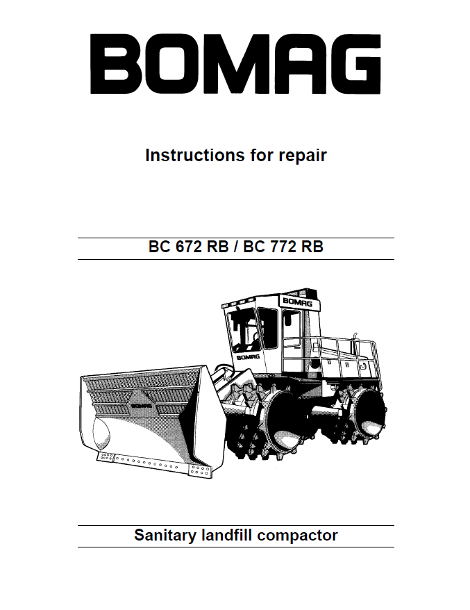 Landfill Compactor Maintenance : Bomag bc rb landfill compactor instructions for
