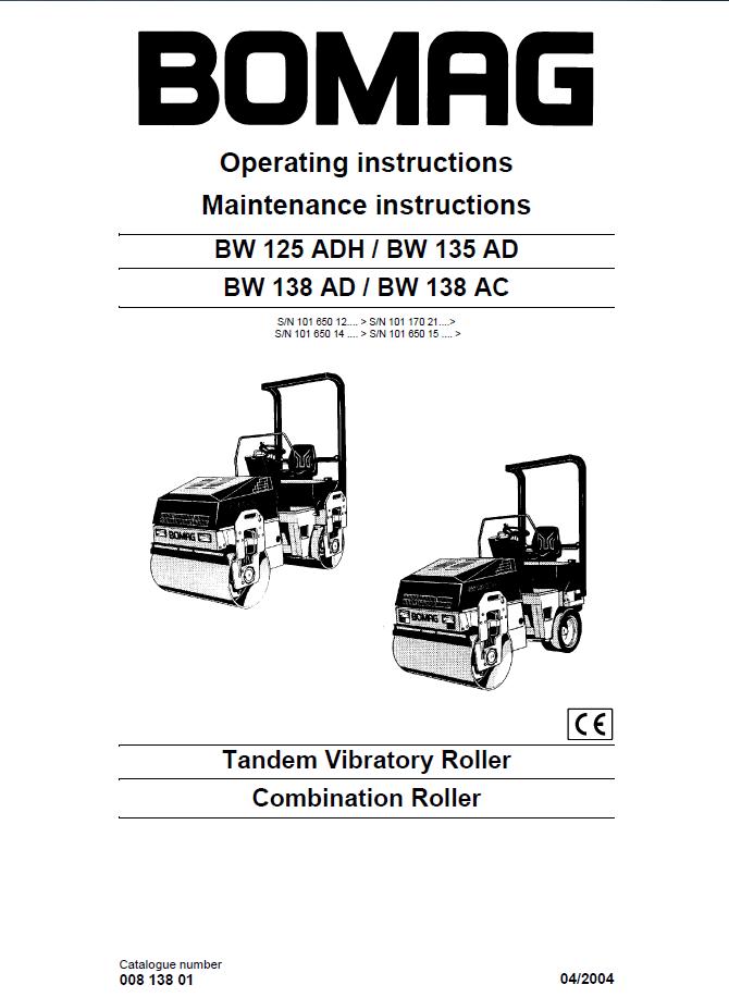 bomag bw125adh bw135ad bw138ad bw138ac pdf rh epcatalogs com bomag 120 roller manual bomag roller service manual