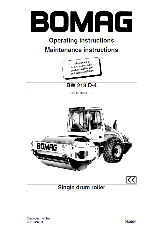 Bomag BW213 D4    Drum    Roller Operating Instructions PDF Download