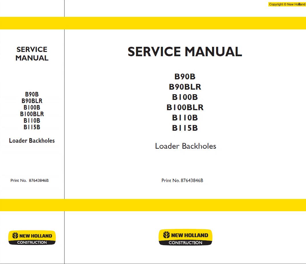 New Holland B90b Blr B100b B110b B115b Loader Pdf Kobelco Wiring Diagram Repair Manual B90blr B100blr Backholes Service