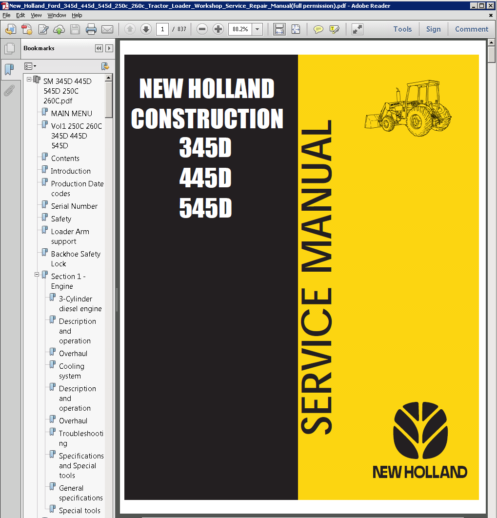 New Holland Ford 345D 445D 545D 250C 260C Tractor Loader repair manual new holland ford 345d 445d 545d 250c 260c tractor loader service ford 535 wiring diagrams for free at reclaimingppi.co