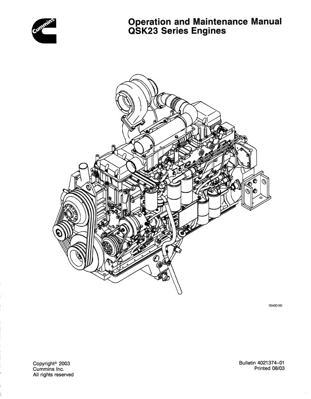 Cummins Engine Qsx15 Operation And Maintenance Manual
