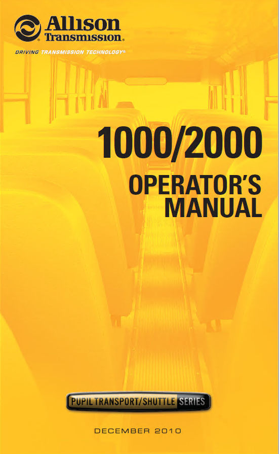 Allison Transmission 1000/2000 Operator's Manual PDF